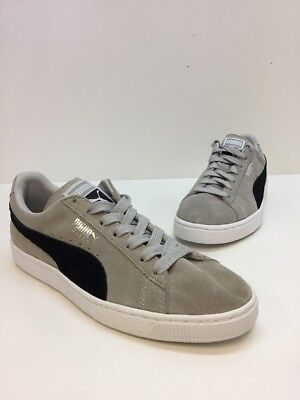 Men s Puma Suede Gray   Black Classic Low Top Lace Up Sneakers Size 8 M ba9b52f9c