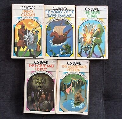 VINTAGE 1970 The Chronicles of Narnia books 2-6 C.S. Lewis lot FREE SHIPPING