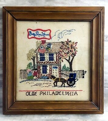 Antique Olde Philadelphia Framed Crewel Work Embroidery Behind Glass Wall Art