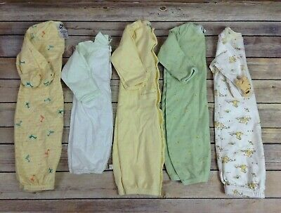 Lot 5 Unisex NB Newborn 0-3 Mo Sleepers Gowns Sleep Sack Pajamas Gender  Neutral fe3016aed