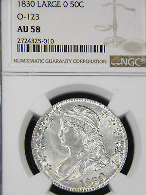 1830 Capped Bust Half Dollar NGC AU58 Blast White Superb Luster PQ looks MS #92A