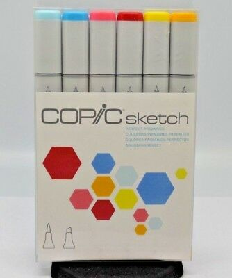 Copic Markers 6-Piece Sketch Set, Perfect Primaries. NEW