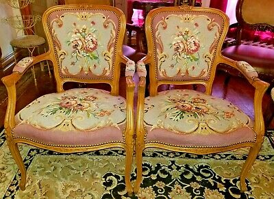Pair Vintage French Carved Wood Frame Chairs Pink Floral Needlepoint Upholstered