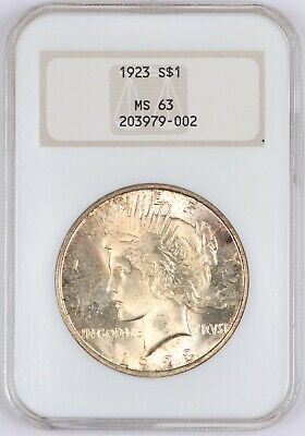 1923 Toned Peace Silver Dollar NGC MS63 S$1 BU Unc Big Fatty Holder