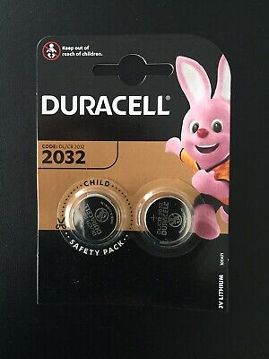 Duracell CR2032 3V 2032 Lithium Button Coin Cell Battery Twin Pack For Key Fobs