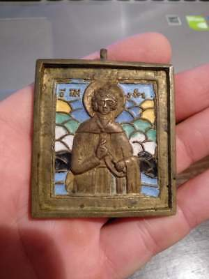 Ancient bronze icon in enamels, Very rare.