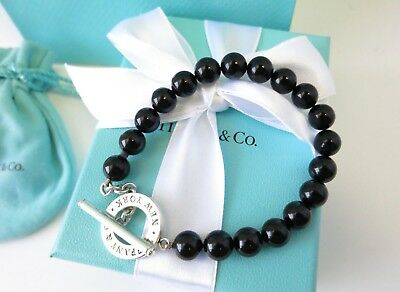 2e92d3a22 Tiffany & Co Silver Black Onyx Bead Bracelet Strand Toggle Clasp 8 Inch  Chain