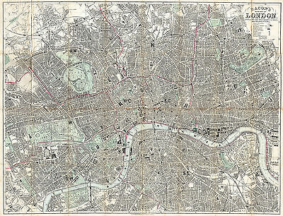 1890 Bacon's London England Map Wall Poster Vintage History Home School Office