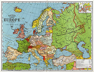 1920 Bacon's Standard Wall Map of Europe Art Poster Print Decor Vintage History