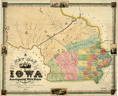 1845 Map Iowa Native American Indians Tribes History Wall Art Poster Print Decor