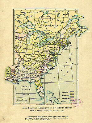 1904 Map Distribution of Indian Stocks and Tribes Native American Wall Poster
