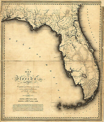 1823 First Florida State Map by Charles Vignoles Gulf of Mexico Vintage Art