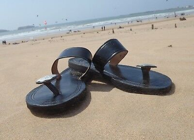 100% MOROCCAN LEATHER  TOE POST SANDALS BLACK * 5 Sizes