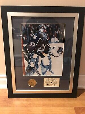 Patrick Roy Colorado Avalanche Framed 500th Victory Picture And Coin With COA