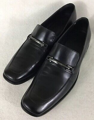 b7f96514d50 Hugo Boss Men s Horse Bit Loafers Black Leather Slip On Dress Shoes Size 8.5