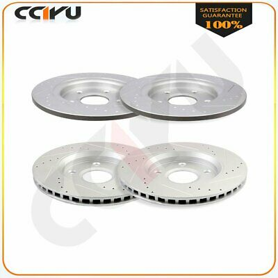 FRONT REAR SET Performance Cross Drilled Slotted Brake Disc Rotors TBS18228
