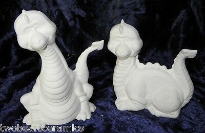 Ceramic Dinosaur babies Ready to Paint 2 Blinky dinosaurs