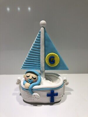 3D Baby Sleep On The Boat Yacht Edible Cake Toppers Fondant, Baby Shower Cake