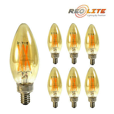 6-PACK Reo-Lite 4W (25W) dimmable Amber LED light bulb B11 candelabra warm white