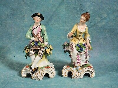 Pair Antique Hand Painted Dresden Carl Thieme Victorian Figurines Germany
