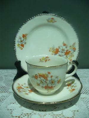 Woods Ivory Ware Bone China Trio - Floral Gilt - High Tea - Cup Saucer Plate Gc