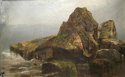 ANTIQUE AMERICAN MASTER IMPRESSIONIST SEASCAPE 19th CENTURY ROCKY COAST PAINTING
