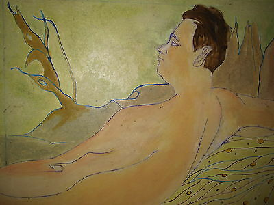 Antique Mid Century Modern American Listed Male Nude Large Gay Int Oil Painting