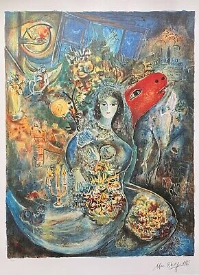 "MARC CHAGALL ""BELLA"" Limited Edition Facsimile Signed Lithograph Art"