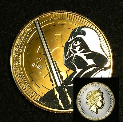 2018 1 oz Niue Silver Ounce $2 Star Wars Darth Vader Black 24K Gold + Capsule