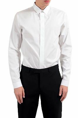 316b9ff35d2 Christian Dior Homme Blanc Soie Robe Manches Longues Chemise Us 16 It