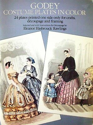 GODEY COSTUME PLATES IN COLOR - 24 Plates Printed One Side Only Crafts Decoupage