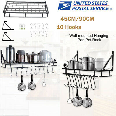 Wall Mounted Pot Pan Storage Rack Hook Holder Hanging Cookware Hanger Organizer