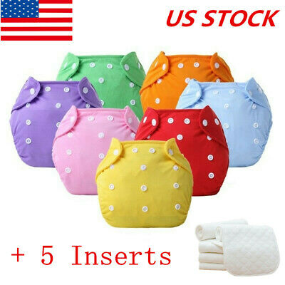 5PCS+5 Inserts Cloth Diapers Lot Nappies Adjustable Reusable For Baby Newborn US