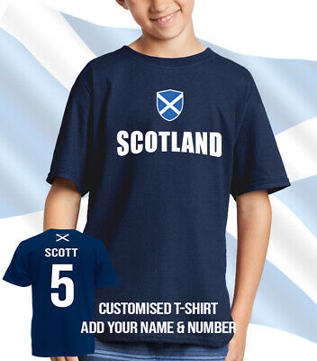 Scotland Football T-shirt Kids Youth Retro Style Shirt Nostalgic Unisex Top Tee
