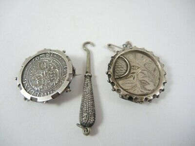 2 Antique Sterling Silver Asthetic and 1897 Shilling brooches Tiny button Hook
