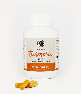 Organic Turmeric Capsules with Ginger and Black Pepper 2 Bottles