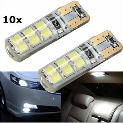 10x Xenon White T10 W5W 12-SMD 2835 LED Canbus Error Free Silica Light Bulbs Kit