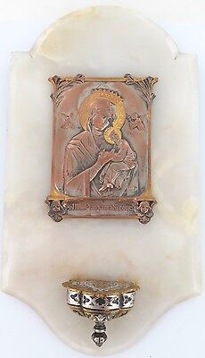.Superb Antique French Icon Holy Water Font Wall Hanger Lady Of Perpetual Help