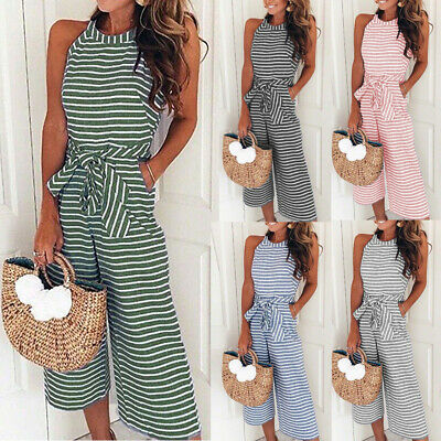 Womens Striped Wide Leg Jumpsuit Ladies Sleeveless Evening Party Long Playsuit