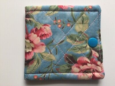 needlecase fabric Blue floral Felt page inside Gift Present Needles Book New