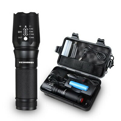 WEISSHORN Tactical LED Flashlight Zoom Military Torch Self-defense Light Kit