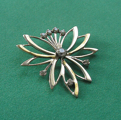 Sterling Silver And High Polish 9K Gold Pendant With Diamond Imitation