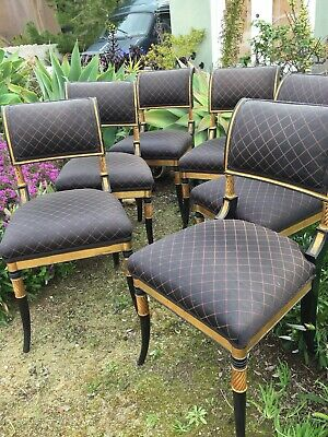 Fantastic Set 7 Classic Regency Styled Dining Chairs Black Lacquer / Gold Gilded