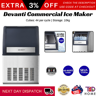 Devanti Commercial 10KG Ice Maker Auto Stainless Steel Machine Home Bar Pub New