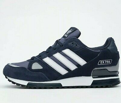 uk availability 5ff92 913c1 Adidas Originals Zx 750 Mens Trainers Navy white Size Uk 9.5
