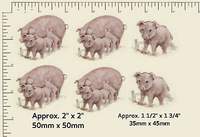 6 x Ceramic decals Decoupage Pink pigs Piglets Farm animals Farming  A06