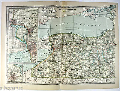Original 1902 Map of Western New York State by The Century Company. Antique