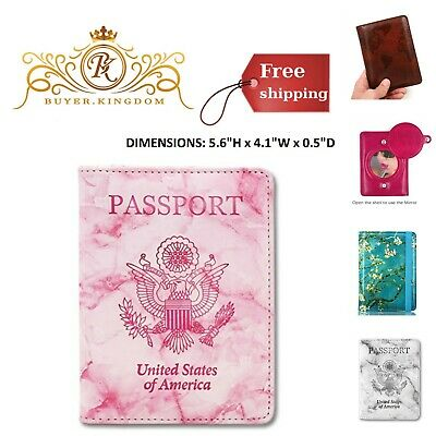 Passport Wallet Holder Cover Case Organizer RFID Blocking Slim Travel PU Leather