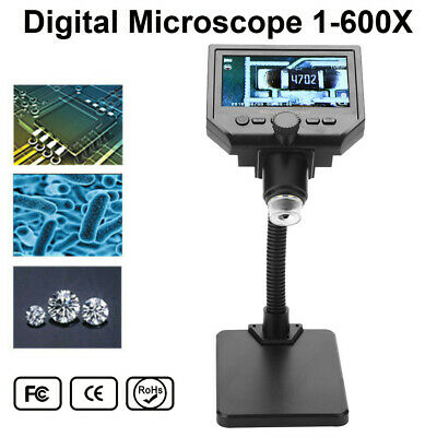 Digital Microscope 4.3in HD OLED 3.6MP 1-600X Magnifier G600 Portable 1080P