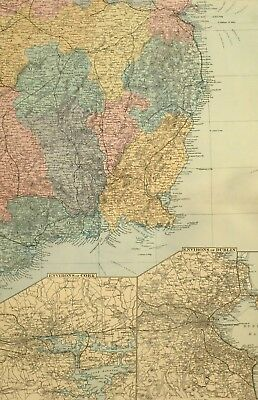 1891 Antique Map Ireland South East Environs Of Cork Dublin Wicklow Wexford